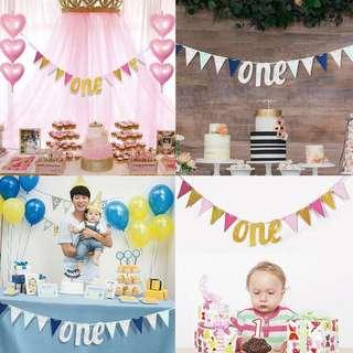 One Year Old Baby Triangle Flag Birthday Party Garland Banner Table Decorations