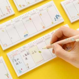 Korean Weekly Planner Sticky Pad