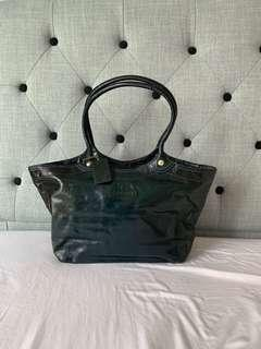 Coach Laminated Leather Hobo Bag in Blue