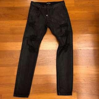 Embellish NYC Waxed Ripped Jeans - Black (Size 32)