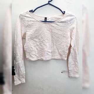 Cream Lace Floral Crop Longsleeves