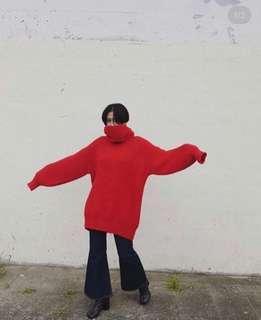 日牌 紅色高領毛衣