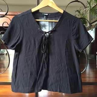 Forever21 Overruns Black Lace Up Blouse