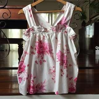 H&M Pink Floral Sleeveless Blouse