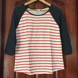 Forever21 Red Stripes Raglan Sleeve Shirt