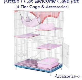 4 Tier Cat Cage & Accessories