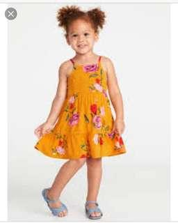 🚚 BN Old Navy Toddler Baby Girl Mustard Yellow Floral Cami Dress 18-24mths/3 years/5years!