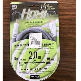 HDMI PLUG TO HDMI PLUG CABLE 2.0M