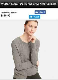 Uniqlo extra fine merino wool crew neck cardigan