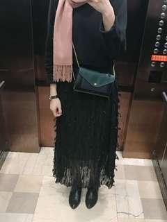 🚚 轉售2143毛海鬚海帶長裙黑色鬆緊