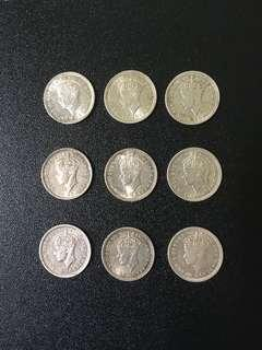 Old coins (9 pcs)