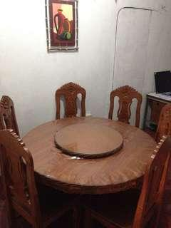 6-sitter Dining table (pure melina wood) round type