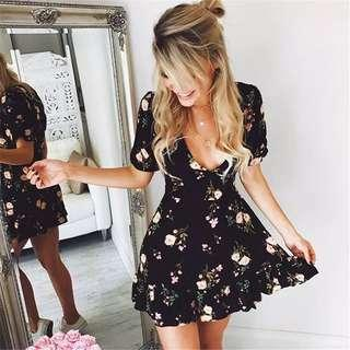 Vairy Floral Mini Vneck Dress