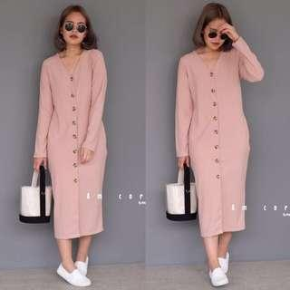 🚚 [BEST SELLING] AMC Ribbed Buttons Maxi Dress in Pink