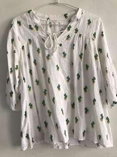 🚚 韓製 棉麻材質可愛仙人掌挷帶上衣