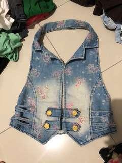 Floral jeans vest