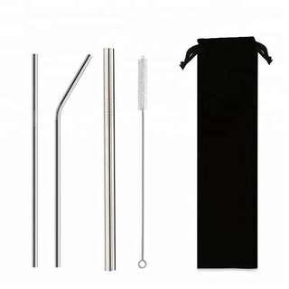 Milk Tea+Straight+Bent Stainless Steel Straw Set with Cleaning Brush and Pouch