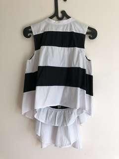Black and white back layered top
