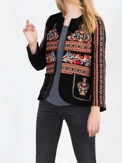 Velvet embroidered jacket, size S