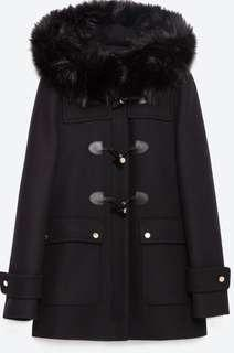 Duffel coat with faux fur, size M