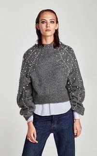 Cropped sweater with faux pearls, size S