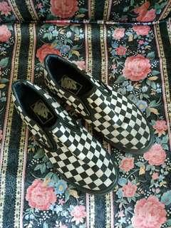 Checkerboard Black Slip On