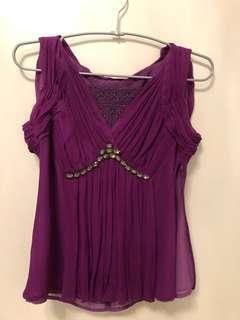 🚚 黃淑琦絲質粉紫色上衣