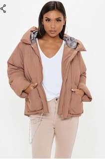 Missguided mocha oversized hooded puffer