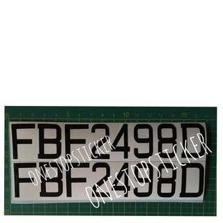 SG Plate Number Decal