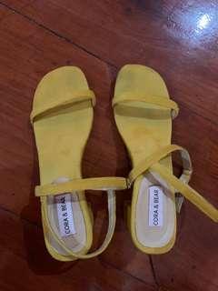 Yellow strap sandals