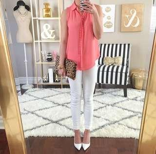 Loft Scalloped Chiffon Top