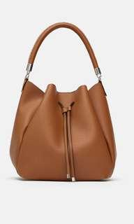 Zara Bucket Bag with Topstitched Handle