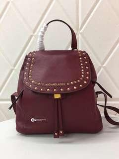 Michael Kors Riley Studded Backpack - maroon