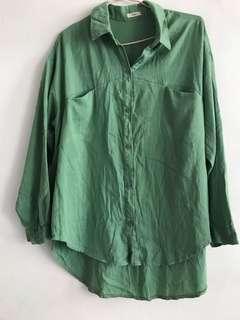 🚚 韓國帶回 淺綠色前短後長造型襯衫 韓系韓劇風