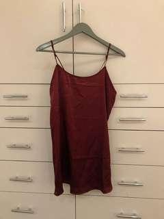 Out From Under Maroon Silk Slip Dress