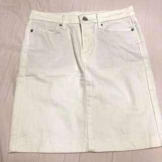 Uniqlo White Denim Skirt