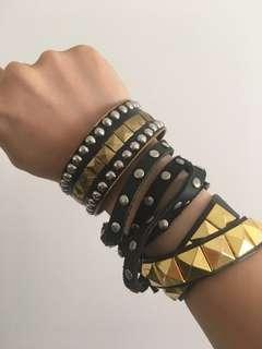 3x rock and roll punk goth black gold metallic metal studded jewellery accessories