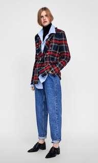 zara checked tweed blazer
