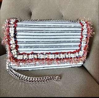 BN Tweed Bag with Pearl Fringes