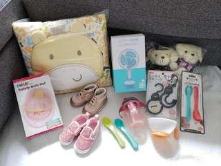 11 x Baby gift set (Baby shoes, Hallmark blanket, sippy cup, fan ,spoon)