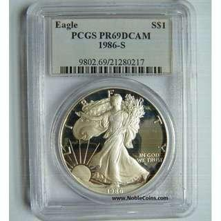 1986-S American Silver Eagle Dollar Proof Coin.  PCGS PR69DCAM