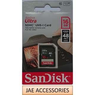 Sandisk Ultra Class 10 16GB/32GB/64GB 48MBS SDHC/XC UHS-1 SD Card