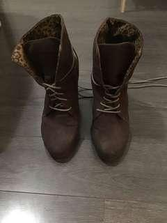 Brown booties, size 7