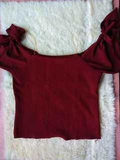 Maroon off shoulders tie top