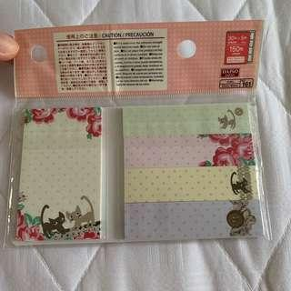 Daiso cat post-its (free mailing) sticky memo