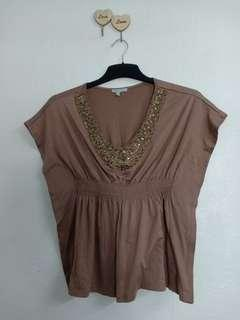 Nice beaded embroidery brown top