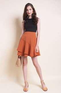 neonmello | alda colourblock a-line work dress in black/orange
