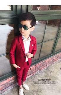 Boys 3pcs Set Coat and Pants Smart Suit Red