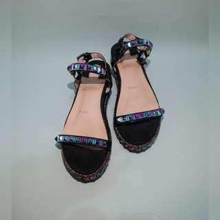 AUTH CHRISTIAN LOUBOUTIN STUDDED SANDALS (size 39)