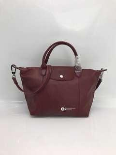 Longchamp Le Pliage Cuir Genuine Leather - maroon